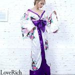 <Love Rich>孔雀和柄ロング着物ドレス 和柄 花魁 キャバドレス (ホワイト)(衣装・コスチューム)