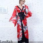 <Love Rich>孔雀和柄ロング着物ドレス 和柄 花魁 キャバドレス (レッド)(衣装・コスチューム)