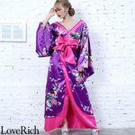 <Love Rich>孔雀和柄ロング着物ドレス 和柄 花魁 キャバドレス (パープル)(衣装・コスチューム)