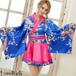 <Love Rich>サテン和柄フリル花魁ミニ着物ドレス 和柄 花魁 キャバドレス (ロイヤルブルー)(衣装・コスチューム)