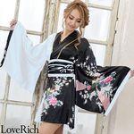 <Love Rich>サテン和柄花魁ツートンミニ着物ドレス 和柄 花魁 キャバドレス (ホワイト)(衣装・コスチューム)