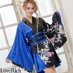 <Love Rich>サテン和柄花魁ツートンミニ着物ドレス 和柄 花魁 キャバドレス (ロイヤルブルー)(衣装・コスチューム)