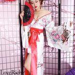 <Love Rich>サテン花車リボンロング着物ドレス 和柄 衣装 花魁 キャバドレス (ホワイト)(衣装・コスチューム)