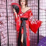 <Love Rich>サテン花車リボンロング着物ドレス 和柄 衣装 花魁 キャバドレス (レッド)(衣装・コスチューム)
