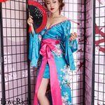 <Love Rich>サテン花車リボンロング着物ドレス 和柄 衣装 花魁 キャバドレス (ブルー)(衣装・コスチューム)