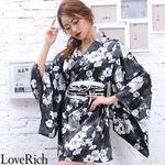 <Love Rich>サテン花柄花魁ミニ着物ドレス 和柄 花魁 キャバドレス (ブラック)(衣装・コスチューム)
