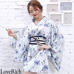 <Love Rich>サテン花柄花魁ミニ着物ドレス 和柄 花魁 キャバドレス (ホワイト)(衣装・コスチューム)