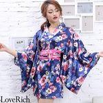 <Love Rich>サテン花柄花魁ミニ着物ドレス 和柄 花魁 キャバドレス (ネイビー)(衣装・コスチューム)