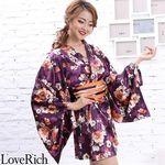 <Love Rich>サテン花柄花魁ミニ着物ドレス 和柄 花魁 キャバドレス (パープル)(衣装・コスチューム)