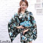 <Love Rich>サテン花柄花魁ミニ着物ドレス 和柄 花魁 キャバドレス (モスグリーン)(衣装・コスチューム)