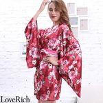 <Love Rich>サテン花柄花魁ミニ着物ドレス 和柄 花魁 キャバドレス (ワイン)(衣装・コスチューム)