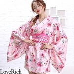 <Love Rich>サテン花柄花魁ミニ着物ドレス 和柄 花魁 キャバドレス (ピンク)(衣装・コスチューム)