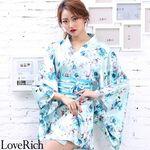 <Love Rich>サテン花柄花魁ミニ着物ドレス 和柄 花魁 キャバドレス (ライトブルー)(衣装・コスチューム)