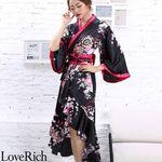 <Love Rich>サテン和柄フリル花魁着物ロングドレス キャバドレス コスチューム (ブラック)(衣装・コスチューム)