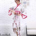 <Love Rich>サテン和柄フリル花魁着物ロングドレス キャバドレス コスチューム (ホワイト)(衣装・コスチューム)