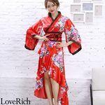<Love Rich>サテン和柄フリル花魁着物ロングドレス キャバドレス コスチューム (レッド)(衣装・コスチューム)