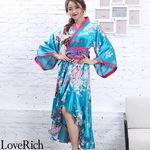 <Love Rich>サテン和柄フリル花魁着物ロングドレス キャバドレス コスチューム (ブルー)(衣装・コスチューム)