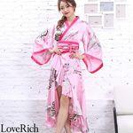 <Love Rich>サテン和柄フリル花魁着物ロングドレス キャバドレス コスチューム (ピンク)(衣装・コスチューム)