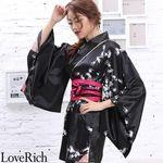 <Love Rich>サテン和柄花魁ミニ着物ドレス 和柄 花魁 キャバドレス (ブラック)(衣装・コスチューム)