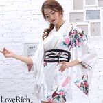 <Love Rich>サテン和柄花魁ミニ着物ドレス 和柄 花魁 キャバドレス (ホワイト)(衣装・コスチューム)