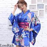 <Love Rich>サテン和柄花魁ミニ着物ドレス 和柄 花魁 キャバドレス (ロイヤルブルー)(衣装・コスチューム)