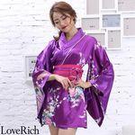 <Love Rich>サテン和柄花魁ミニ着物ドレス 和柄 花魁 キャバドレス (パープル)(衣装・コスチューム)