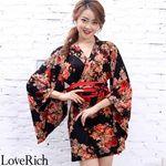 <Love Rich>パワーネット和柄花魁ミニ着物ドレス 和柄 衣装 キャバドレス (ブラックレッド)(衣装・コスチューム)