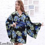 <Love Rich>パワーネット和柄花魁ミニ着物ドレス 和柄 衣装 キャバドレス (ブラックブルー)(衣装・コスチューム)