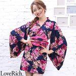 <Love Rich>パワーネット和柄花魁ミニ着物ドレス 和柄 衣装 キャバドレス (ネイビー)(衣装・コスチューム)