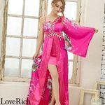 <Love Rich>豪華ビジューサテン和柄ワンショルロング着物ドレス 花魁 キャバドレス (チェリーピンク)(衣装・コスチューム)
