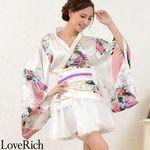 <Love Rich>サテン和柄豪華花魁ミニ着物プリーツドレス 和柄 花魁 キャバドレス (ホワイト)(衣装・コスチューム)