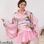 <Love Rich>サテン和柄豪華花魁ミニ着物プリーツドレス 和柄 花魁 キャバドレス (ピンク)(衣装・コスチューム)