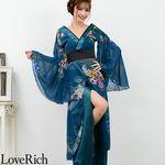 <Love Rich>フラワーロング着物ドレス 和柄 花魁 キャバドレス (グリーン)(衣装・コスチューム)