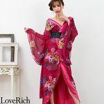 <Love Rich>フラワーロング着物ドレス 和柄 花魁 キャバドレス (ワイン)(衣装・コスチューム)