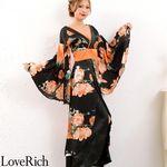 <Love Rich>フラワーロング着物ドレス 和柄 衣装 花魁 キャバドレス (ブラックオレンジ)(衣装・コスチューム)