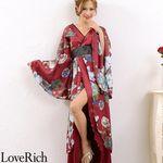 <Love Rich>フラワーロング着物ドレス 和柄 衣装 花魁 キャバドレス (ワインブルー)(衣装・コスチューム)