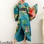 <Love Rich>グラデーションロング着物ドレス 和柄 花魁 キャバドレス (グリーン)(衣装・コスチューム)