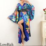 <Love Rich>グラデーションロング着物ドレス 和柄 花魁 キャバドレス (ブルー)(衣装・コスチューム)