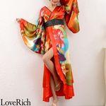 <Love Rich>グラデーションロング着物ドレス 和柄 花魁 キャバドレス (レッド)(衣装・コスチューム)