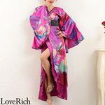 <Love Rich>グラデーションロング着物ドレス 和柄 花魁 キャバドレス (パープル)(衣装・コスチューム)