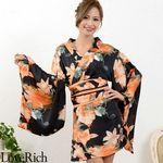 <Love Rich>フラワープリント花魁着物ドレス 和柄 衣装 花魁 キャバドレス (ブラックオレンジ)(衣装・コスチューム)