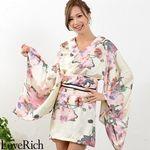 <Love Rich>フラワープリント花魁着物ドレス 和柄 衣装 花魁 キャバドレス (ホワイトピンク)(衣装・コスチューム)