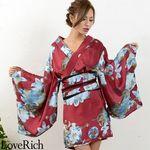 <Love Rich>フラワープリント花魁着物ドレス 和柄 衣装 花魁 キャバドレス (ワインブルー)(衣装・コスチューム)