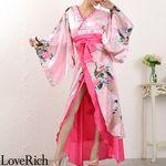<Love Rich>豪華ビジュー花魁ロング着物ドレス 和柄 衣装 花魁 キャバドレス (ピンク)(衣装・コスチューム)