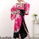 <Love Rich>豪華ビジュー花魁ロング着物ドレス 和柄 衣装 花魁 キャバドレス (チェリーピンク)(衣装・コスチューム)