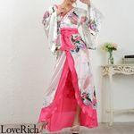 <Love Rich>豪華ビジュー花魁ロング着物ドレス 和柄 衣装 花魁 キャバドレス (ホワイト)(衣装・コスチューム)