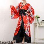 <Love Rich>豪華ビジュー花魁ロング着物ドレス 和柄 衣装 花魁 キャバドレス (レッド)(衣装・コスチューム)