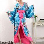 <Love Rich>豪華ビジュー花魁ロング着物ドレス 和柄 衣装 花魁 キャバドレス (ブルー)(衣装・コスチューム)