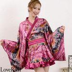<Love Rich>ゴールドパイピングフリルミニ着物ドレス 和柄 衣装 花魁 キャバドレス (パープル)(衣装・コスチューム)