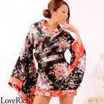 <Love Rich>和柄ミニ丈着物ドレス 和柄 衣装 花魁 キャバドレス (ブラック)(衣装・コスチューム)